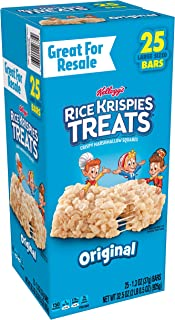 Kellogg's Rice Krispies Treats, Crispy Marshmallow Squares, Original, Single Serve, Display Box, 1.3 oz Bars(25 Count)