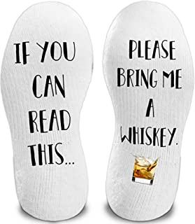 Whiskey If You Can Read This Bring Me Novelty Socks - Funny Dress Socks Stocking Stuffers For Men and Women