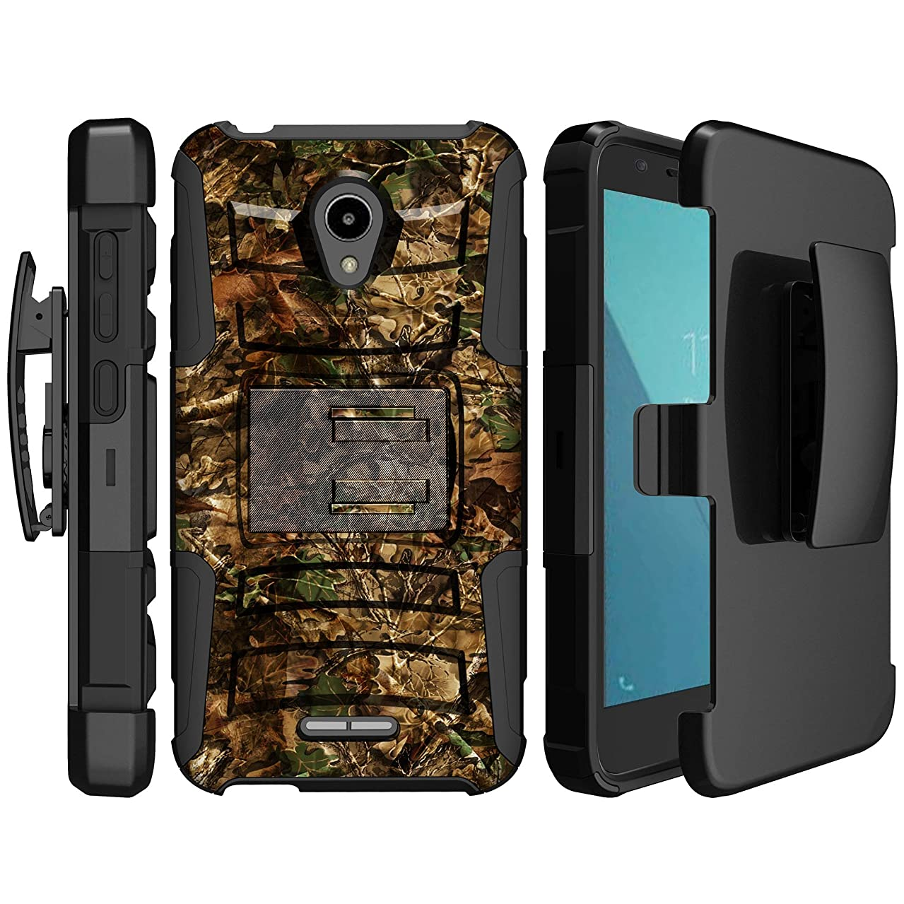 MINITURTLE Compatible with Alcatel Verso, Ideal Xcite, Raven A574BL, Fiji [Clip Armor] Dual Layer Hybrid Shock Absorbing Rugged Belt Clip & Stand Phone Case - Hunting Leaves Camo