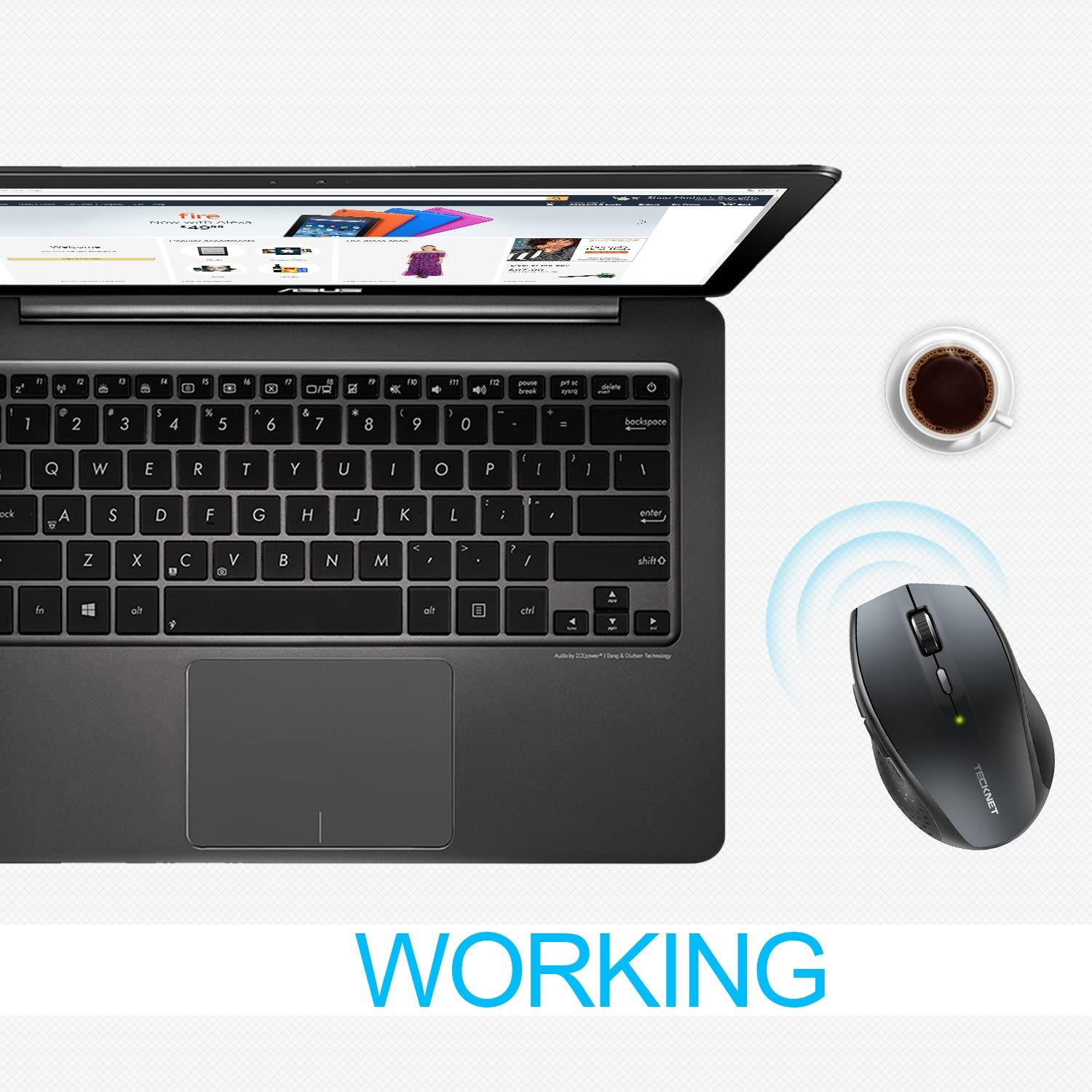 TECKNET Bluetooth Wireless Mouse, 5 Adjustable DPI Levels, 24-Month Battery Life, 6 Buttons Compatible for Ipad/Laptop/Surface Pro/Windows Computer /Chromebook-Grey