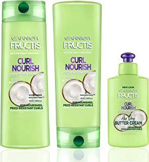 Garnier Hair Care Fructis Curl Nourish Shampoo, Conditioner, and Butter Cream Leave In Conditioner, For 24 Hour Frizz Control, Intense Moisture for Smoother, Frizz-Resistant Curls, 1 Kit