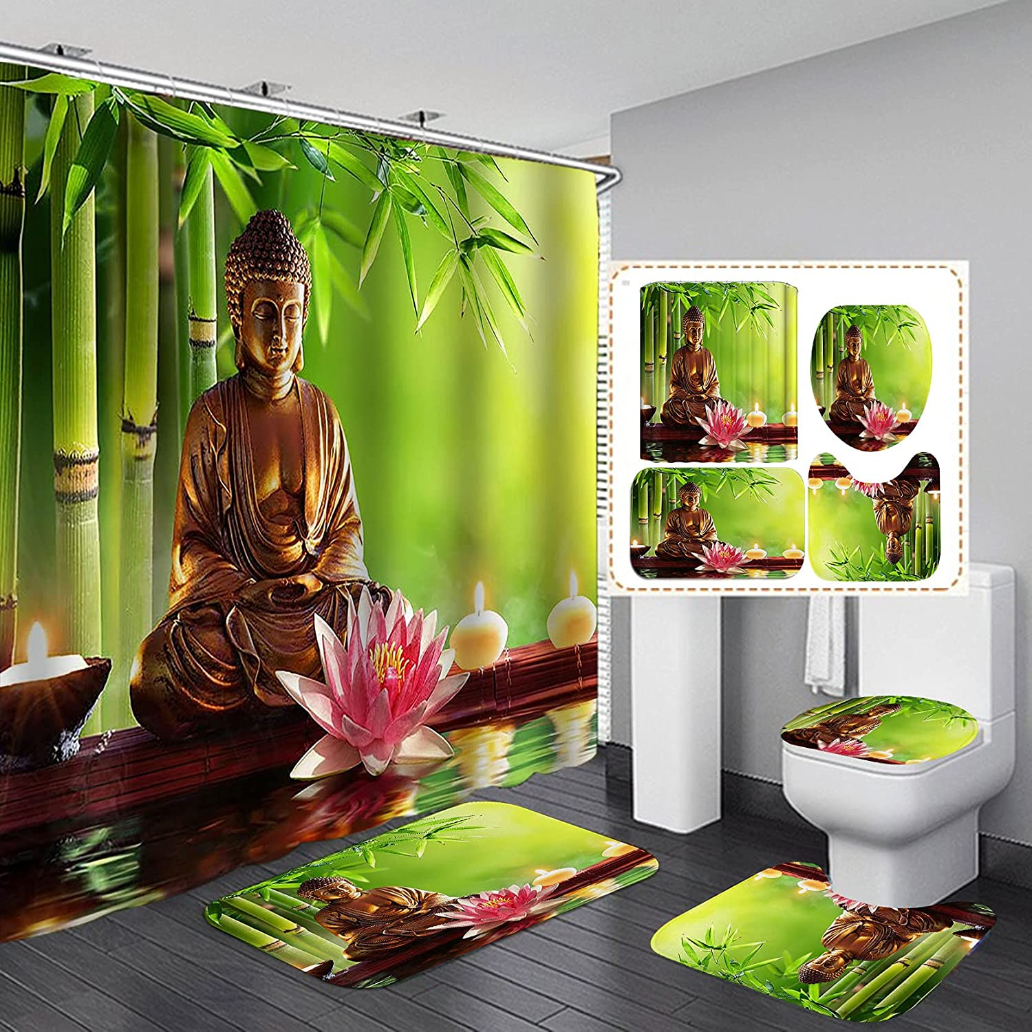 CamilleAndrew 4PCS Set Gold Buda Pink Selling Albuquerque Mall Statue Lo Curtain Shower
