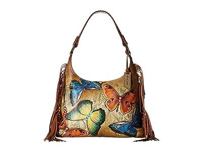 Anuschka Handbags 586 Fringe Shoulder Hobo (Earth Song) Handbags