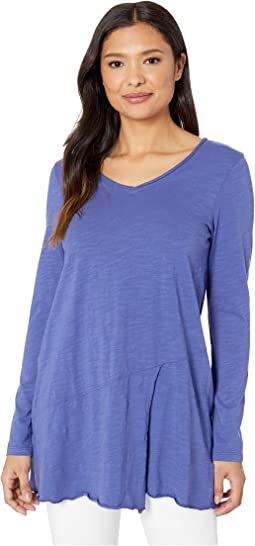 Slub Jersey Long Sleeve V-Neck Tunic with Overlapped Hem