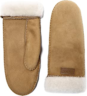 Women's Rugged Sheepskin Shearling Mitten Sherpa Gloves Fur Cuff Thick Wool Lined and Heated Warm for Winter Cold Weather Dress Driving Work Xmas Gifts, Camel Large