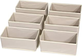DIOMMELL 6 Pack Foldable Cloth Storage Box Closet Dresser Drawer Organizer Fabric Baskets Bins Containers Divider with Drawers for Clothes Underwear Bras Socks Lingerie Clothing,Beige 060