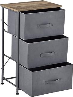 pro.tec Kommode mit 3 Schubladen Konsole 73 x 45 x 30 cm Ablage mit Aufbewahrungsboxen Nachttisch mit Vliesstoff-Schubladen Grau/Holzfarben