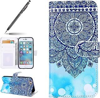 """Uposao telefoonhoes voor iPhone 8/iPhone 7, lederen fliphoes lederen brief iPhone 8/iPhone 7 4.7"""" Blau Mandala Blume"""