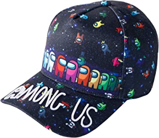 Among Us Kids Baseball Cap, Adjustable Outdoor Sports Hat, Black Unisex Printed Embroidery Game Peripheral Cap