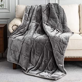 Uttermara Sherpa Fleece Weighted Blanket 15 lbs for Adult, Unicolor Ultra-Soft Fleece and Sherpa, Dual Sided Cozy Plush Bl...