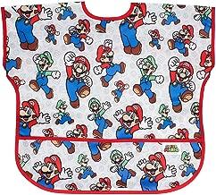 Bumkins Nintendo Junior Bib / Short Sleeve Toddler Bib / Smock 1-3 Years, Waterproof, Washable, Stain and Odor Resistant – Mario & Luigi