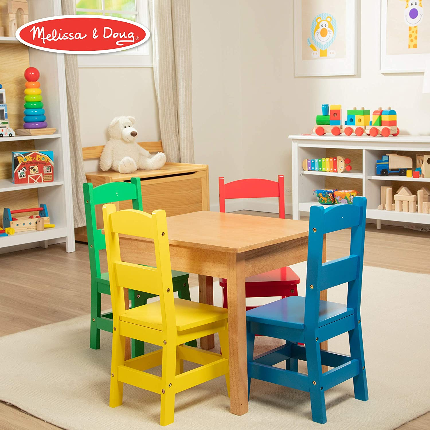 Melissa & Doug Kids Furniture Wooden Table & 4 Chairs - Primary (Natural Table, Yellow, bluee, Red, Green Chairs)