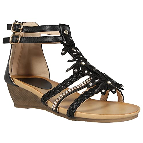 e93ac780649f LADIES WOMENS GLADIATOR STRAPPY WEDGE SANDAL SUMMER EVENING DRESS PARTY  SHOE DIAMANTE FLOWER FLORAL BEACH BUCKLE