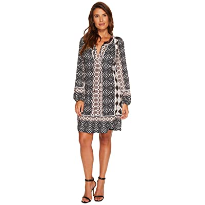 Hale Bob Good Vibrations Matte Microfiber Jersey Dress (Brown) Women