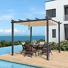 PURPLE LEAF 10' X 10' Aluminum Outdoor Retractable Canopy Pergola Deck Garden..
