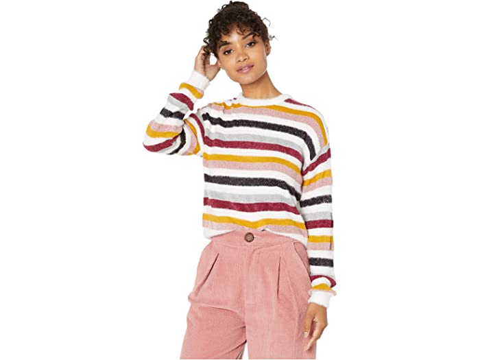 Cupcakes And Cashmere Rach Multi Stripe Crew Neck Sweater