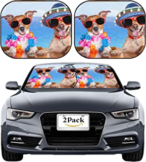 MSD Car Sun Shade Windshield Sunshade Universal Fit 2 Pack, Block Sun Glare, UV and Heat, Protect Car Interior, Image ID: 32316013 l Two Funny Dogs Drinking Cocktails at The bar in a Beach Club Party