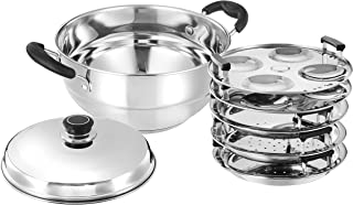 Amazon Brand - Solimo Stainless Steel Induction Bottom Multi Kadai with 5 plates