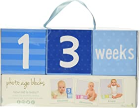 Tiny Ideas Photo Sharing Keepsake Age Blocks, Perfect Gift for New Parents, Blue