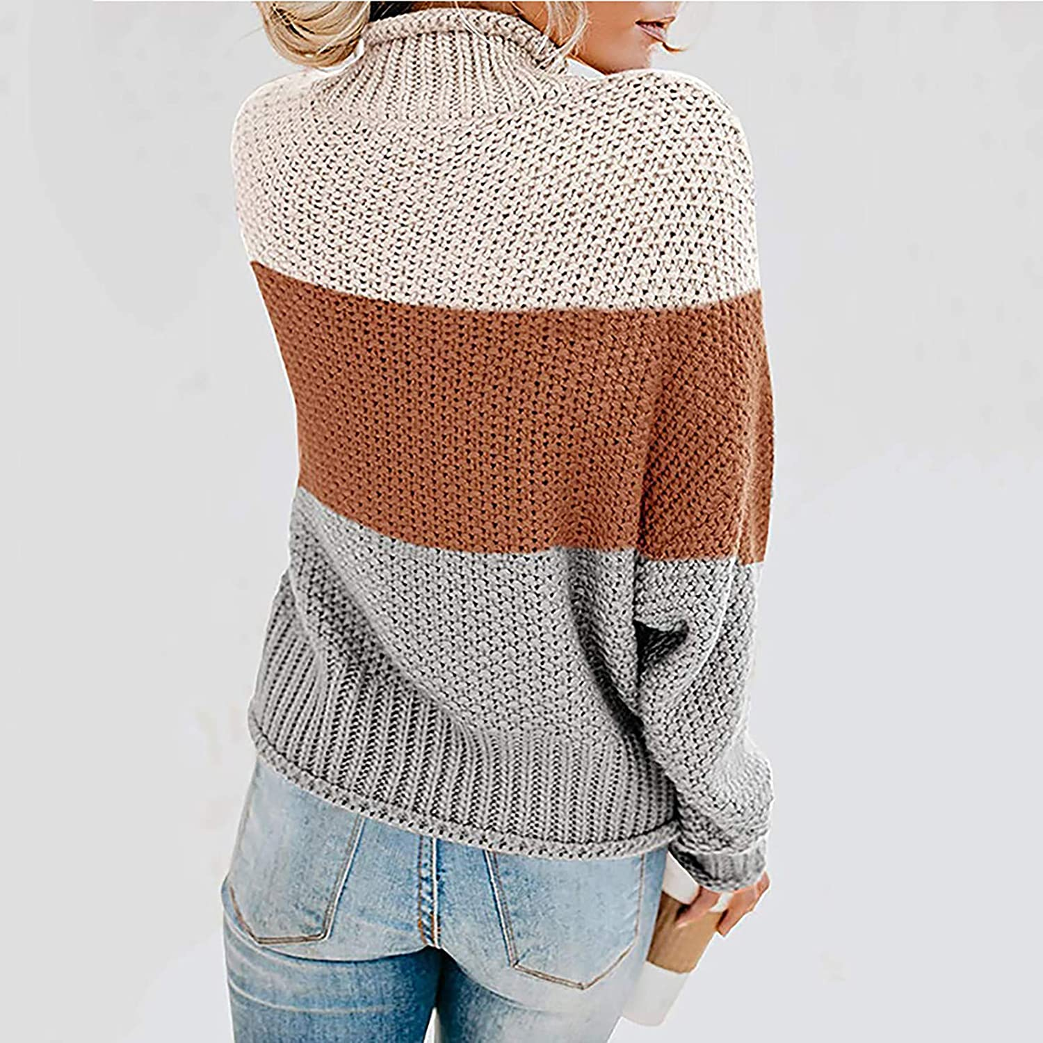 Xinantime Women Color Block Sweater Turtleneck Cable Knitted Tops Autumn Winter Warming Blouse Pullover Trendy Shirt