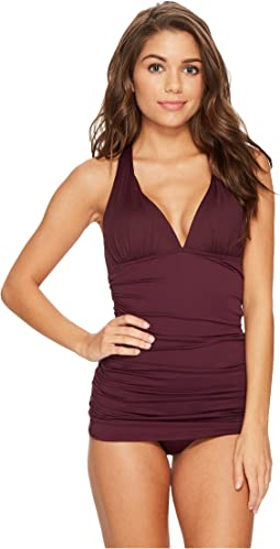 Beach Club Solids Plunge Halter Skirted One-Piece