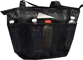 Deluxe Mesh Heavy Duty Extra Large Beach Bag with Pockets | XL Beach Tote w Carabiner Hook
