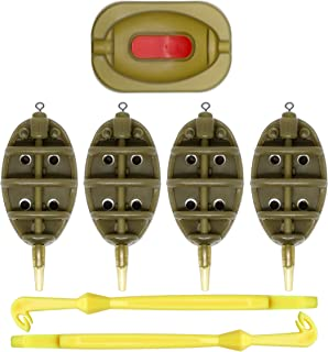 SAMSFX Inline Flat Method Feeder with Quick Release Moulds for Carp Fishing Bait HolderTool