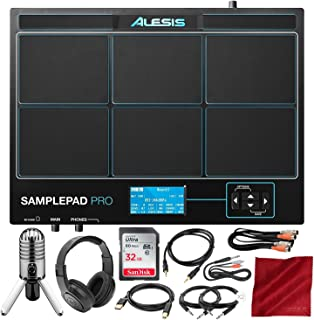 Alesis Sample Pad Pro 8-Pad Percussion and Triggering Instrument with Samson Meteor Mic USB Microphone, Headphones, 16GB Card, and Assorted Cables Bundle