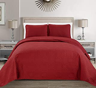 Fancy Collection 3pc King/California King Embossed Oversized Coverlet Bedspread Set Solid Red