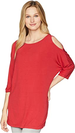 Lycra Jersey 3/4 Sleeve Cold Shoulder Tunic
