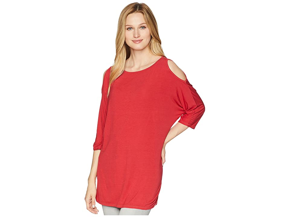 Michael Stars Lycra Jersey 3/4 Sleeve Cold Shoulder Tunic (Hacienda) Women's Long Sleeve Pullover