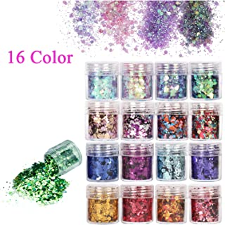 Le Fu Li 16 Colors Body Glitter Sequins Chunky Glitter for Body Face Hair Make Up Nail Art Mixed Color Glitter