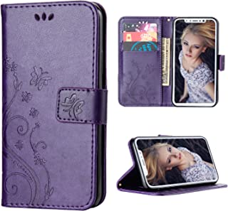 FLYEE iPhone xr Case,iPhone xr Wallet Case, Flip Case Wallet Leather [Kickstand] Emboss Butterfly Flower Folio Magnetic Protective Cover with Card Slots for iPhone xr 6.1 inch Purple