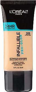L'Oreal Paris Makeup Infallible Up to 24HR Pro-Glow Foundation, 205 Natural Beige, 1 fl; oz.