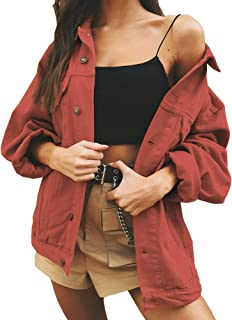 Just Quella Women's Oversize Vintage Washed Boyfriend Denim Jacket Long Sleeve Classic Loose Jean Trucker Jacket