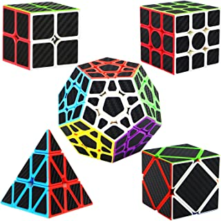 Dreampark Speed Cube Bundle [5 Pack] 2x2 3x3 Megaminx Skew Pyramid Carbon Fiber Sticker Magic Cube Puzzle Toy Set of 5