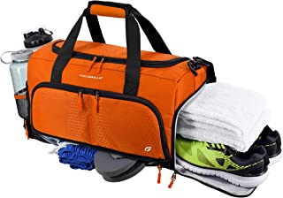 Ultimate Gym Bag 2.0: The Durable Crowdsource Designed Duffel Bag with 10 Optimal Compartments Including Water Resistant Pouch (Orange, Medium (20