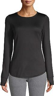 Cuddl Duds Women's and Women's Plus Thermal Guard Long Underwear Top, Blackest Black, M