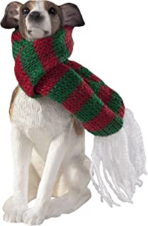 Sandicast Greyhound with Red and Green Scarf Christmas Ornament