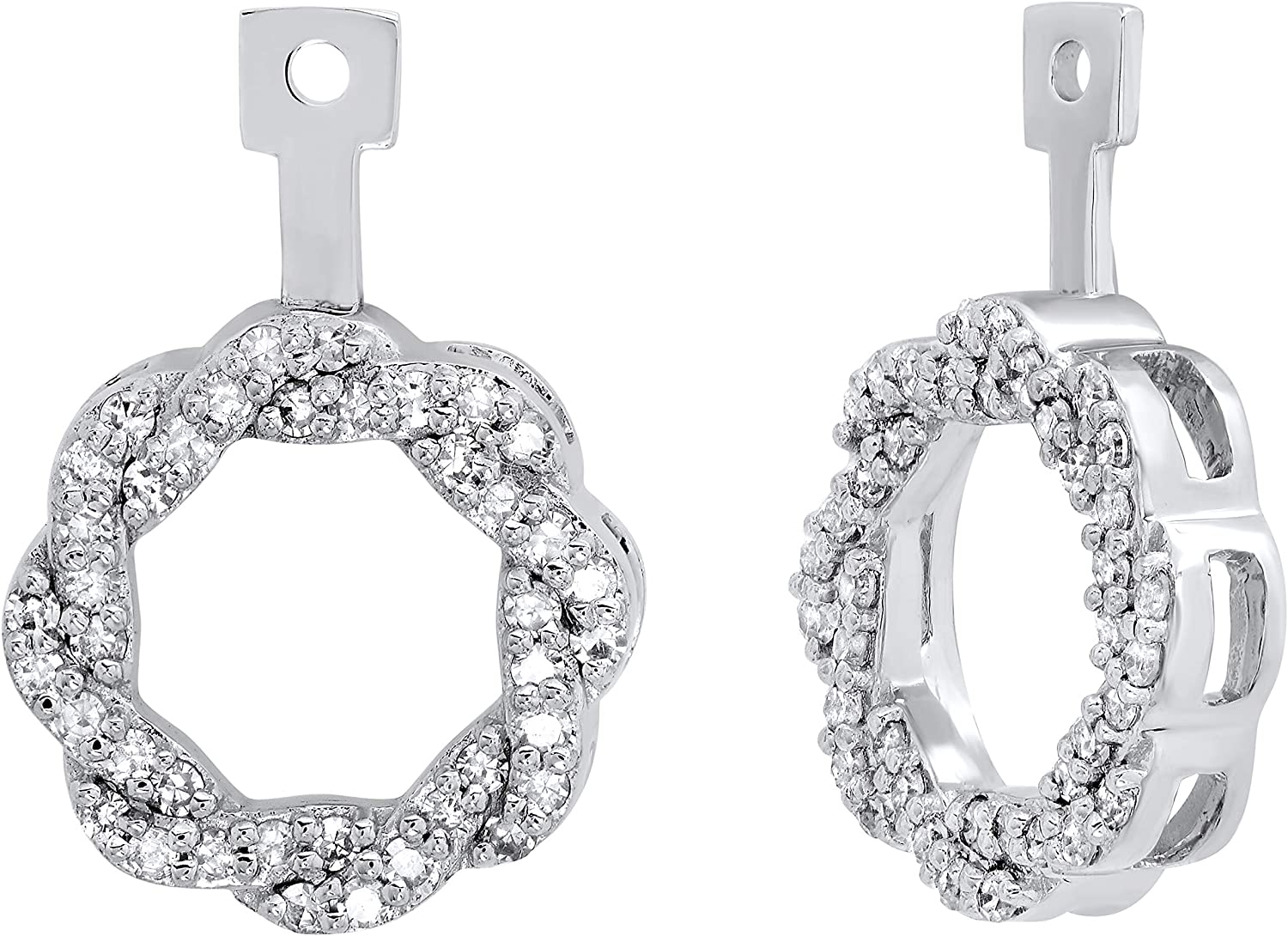 Dazzlingrock Collection 0.45 Carat (Ctw) Round White Diamond Ladies Swirl Earring Jackets 1/2 CT, Available in 10K/14K/18K Gold