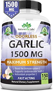Sponsored Ad - Odorless Pure Garlic 1,500 mg per Soft Gel Maximum Strength 150 Soft gels Promotes Healthy Cholesterol Leve...