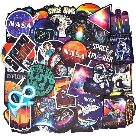 100 PCS - (Astronauta/Galaxy/Navicella Spaziale) Adesivi Valigia, Retro Vintage Stickers per Valigia, Chitarra, PC Portatili, Auto Moto, Skateboard, Snowboard