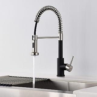 Lonheo Schwarz Küchenarmatur aus Edelstahl 360° drehbar Wasserhahn Küche ausziehbar mit 2 Strahlarten Geschirrbrause Flexible Einhebelmischer Spültischarmatur Armatur Mischbatterie für Küche