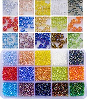 BALABEAD 7500pcs in Box 15 Colors 8/0 Glass Seed Beads Rainbow Loose Spacer Beads, 3mm Round, Hole 1.0mm (500pcs/Color, 15 Colors)