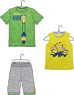 Universal Boys Team Minion Workout Routine Green 3 Piece T-Shirt Tank Top Short Set, 56