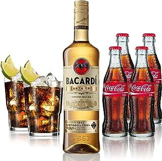 Cuba Libre Set - Bacardi Carta Oro Gold Rum 1L 40% Vol  4x Coca Cola 0,2L  2x Bacardi Glas Gläser 2/4cl geeicht - Inkl. Pfand MEHRWEG