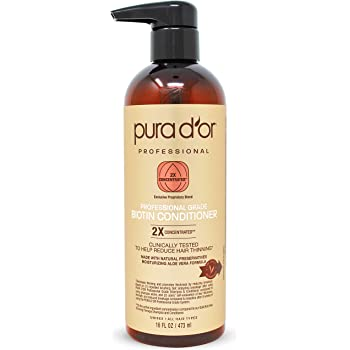 PURA D'OR Professional Grade Conditioner Ultra Moisturizing 2X Concentrated Actives for Maximum Results, Clinically Tested, Made with Argan Oil, Men & Women, 16 Fl Oz (Packaging may vary)
