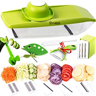 Adjustable Mandoline Slicer Stainless Steel - Vegetable Spiralizer - Potato Chip Maker with Julienne Slicer - Mandolin Food Cutter for Fruits and Veggies - Kitchen Slicer 5 in 1 with 4 Kitchen Gifts