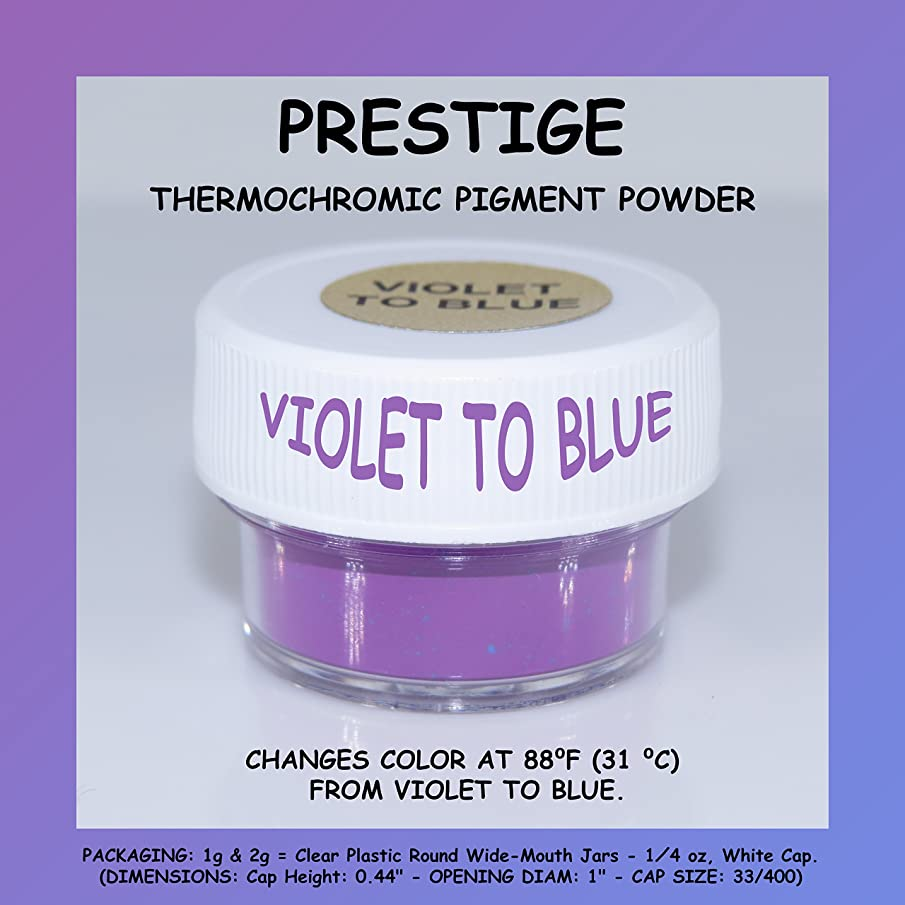 PRESTIGE THERMOCHROMIC PIGMENT THAT CHANGES COLOR AT 88?F (31 ?C) FROM COLORED TO TRANSPARENT (Colored Below The Temperature, Transparent Above) Perfect For Color Changing Slime! (1g, VIOLET TO BLUE)
