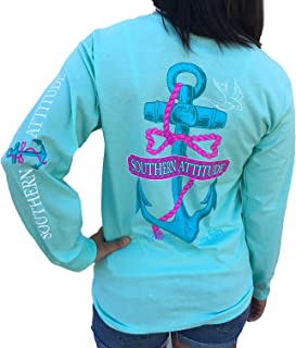 Southern Attitude Salty Anchor Sea Foam Green Preppy Long Sleeve Shirt